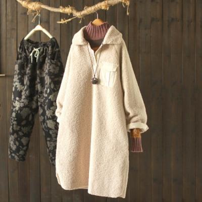 素色皮毛一體羊羔絨寬鬆加絨中長版衛衣外套-設計所在