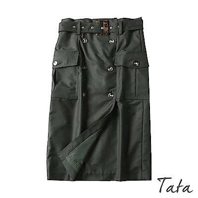 琥珀排扣後拉鍊裙(附腰帶) 共二色 TATA-(S/M)