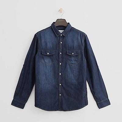 Hang Ten - 男裝 - 經典水洗單寧襯衫-深藍色