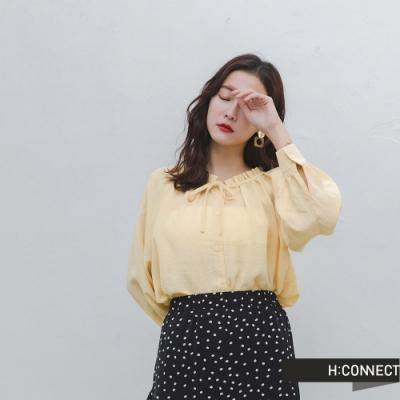 H:CONNECT 韓國品牌 女裝 -甜美荷葉邊領口上衣-卡其