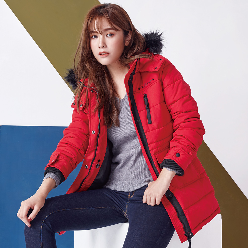Victoria 撞色設計長版絲棉連帽外套-女-紅