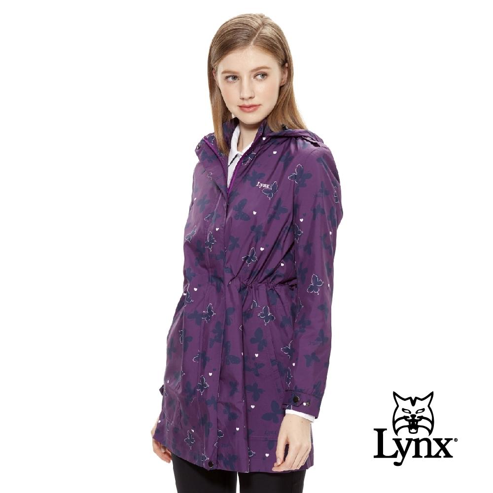 【Lynx Golf】女款防潑水長版蝴蝶印花可拆式連帽長袖外套-紫色