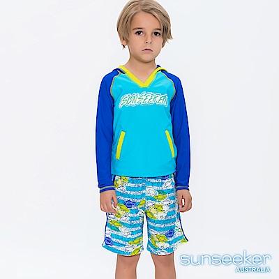 澳洲Sunseeker泳裝抗UV防曬連帽長袖泳衣+泳褲兩件式-小男童/幾何天藍