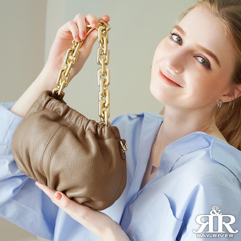 2R 頭層牛皮Chain垂墬鍊條mini斜背包 奶茶杏
