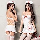 護士服 純白護士角色扮演服吊襪帶五件組(白+紅F) Lorraine