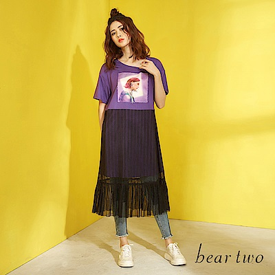 beartwo 女孩兒拼接紗裙造型長版洋裝(二色)