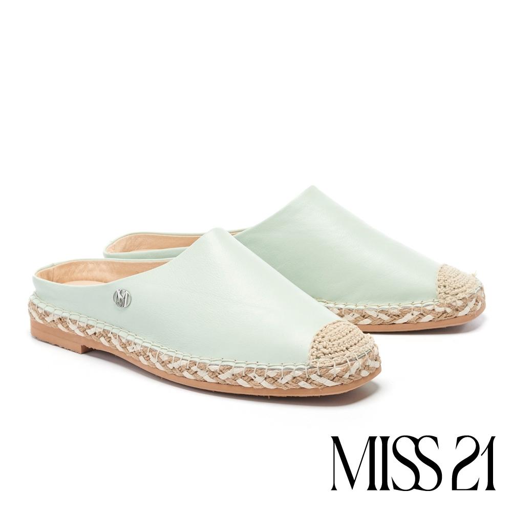 拖鞋 MISS 21 清新質感異材質拼接草編休閒拖鞋-綠