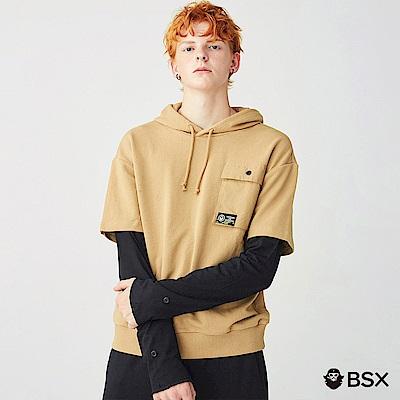 BSX 男裝假两件字母印花口袋帽TEE-13 駝色