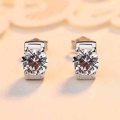 米蘭精品 925純銀耳環-鑲鑽簡約耳環