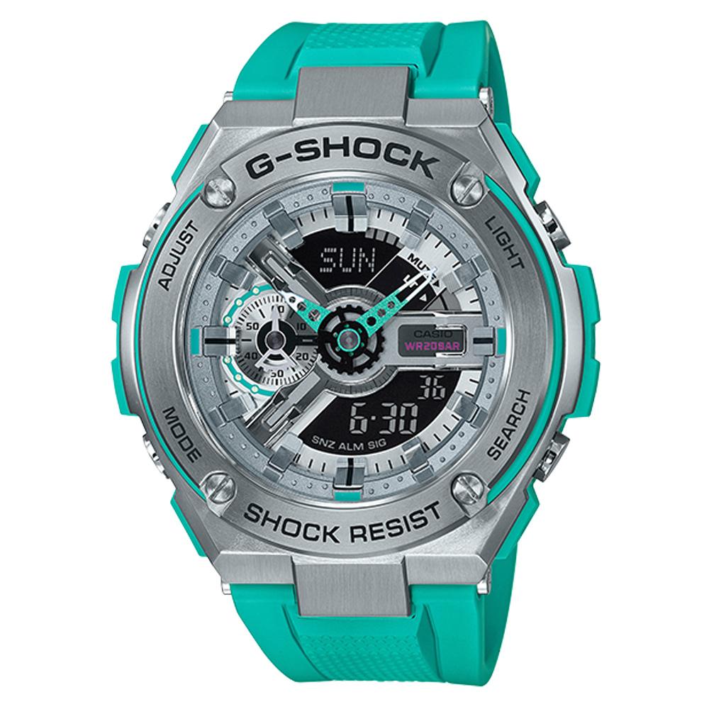 G-SHOCK 絕對強悍武士分層防護概念休閒錶(GST-410-2)藍綠x黑面52.4mm