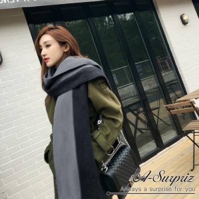 A-Surpriz  時尚雙色厚織長版圍巾(黑灰)
