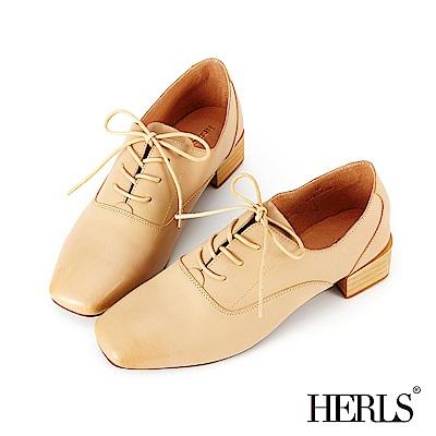 HERLS 輕甜復古 全真皮素面方頭粗跟牛津鞋-杏色
