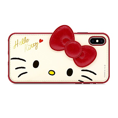 GARMMA Hello Kitty iPhone X/XS 燙金皮革保護套