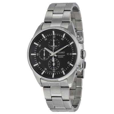 SEIKO精工   東京仕事日和三眼計時腕錶(SNDC81P1)-黑面x40mm