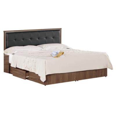 文創集 費斯5尺皮革雙人抽屜床台(床頭片+三抽床底+不含床墊)-152.5x192x93.5cm免組