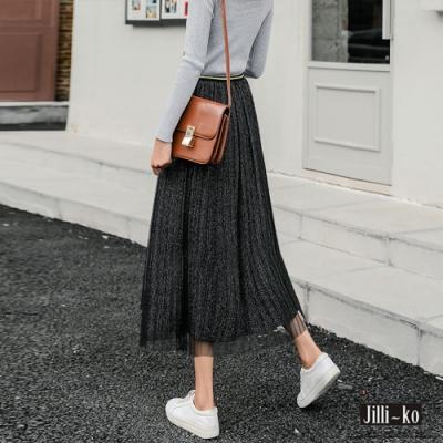 JILLI-KO 金絲網紗A字百摺裙- 黑色