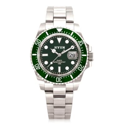 HYUN炫 男士設計精品錶-白鋼綠底