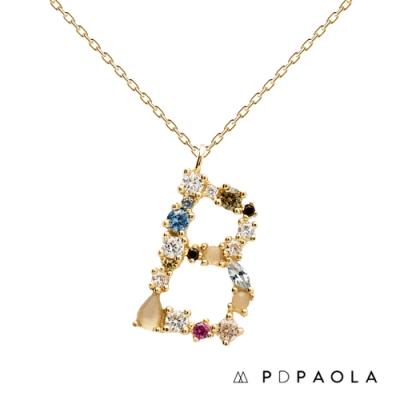 PD PAOLA 西班牙輕奢時尚品牌 字母B 彩鑽寶石項鍊