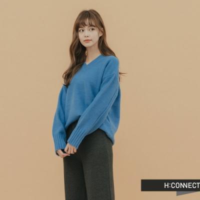 H:CONNECT 韓國品牌 女裝 - 百搭素面針織上衣 - 藍