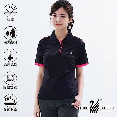 【遊遍天下】MIT台灣製女款吸濕排汗抗UV機能POLO衫S101黑色