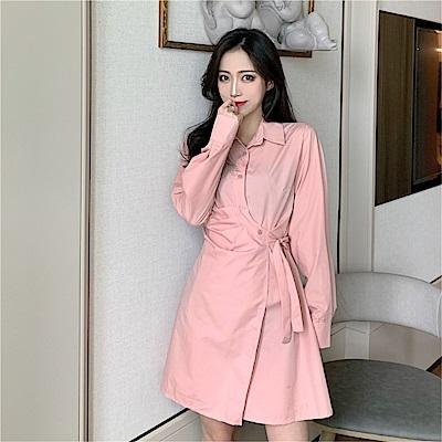 DABI 韓國風顯瘦系帶襯衫裙設計感長袖洋裝