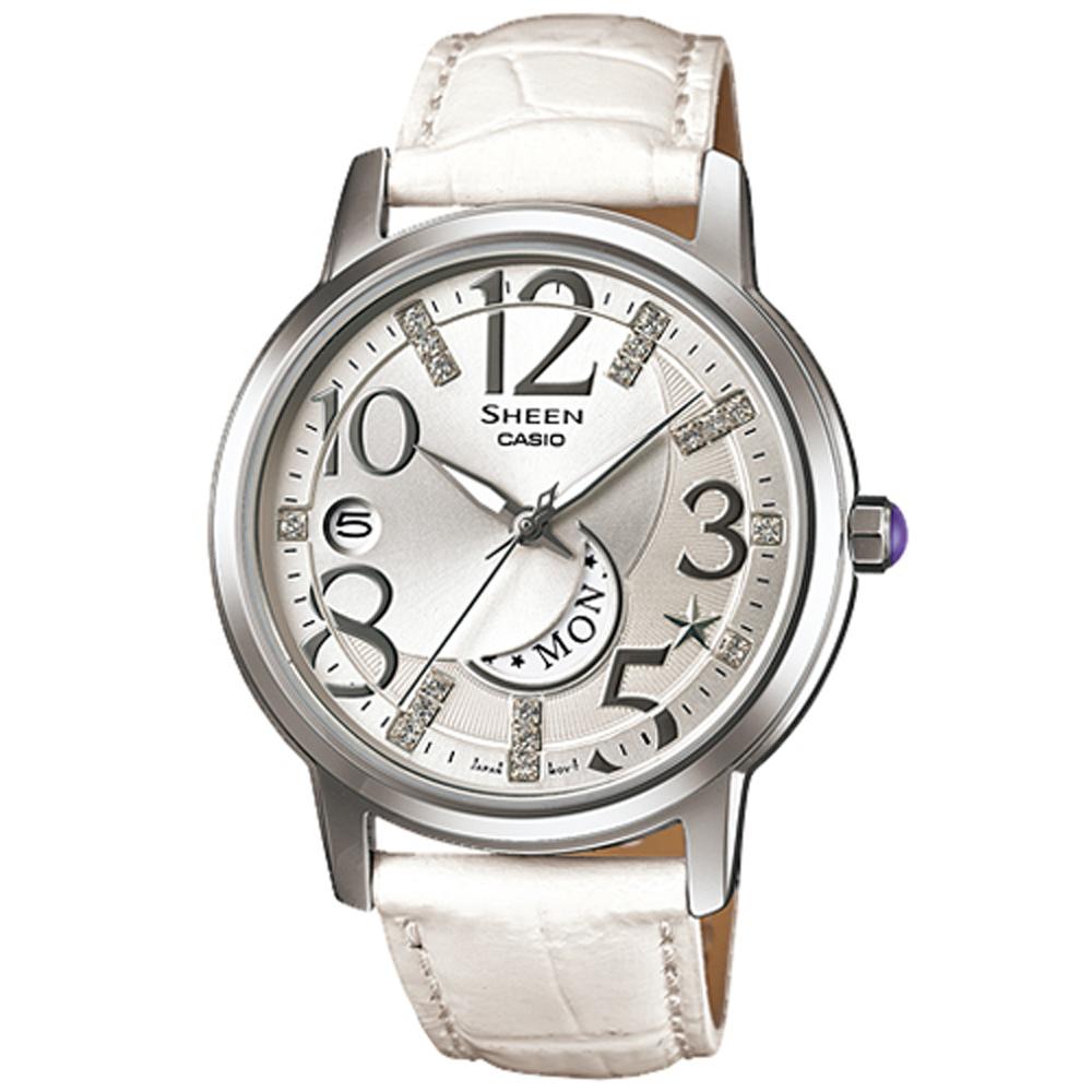 SHEEN SWAROVSKI夢幻上弦月皮帶指針腕錶(SHE-4028L-7)白/37mm