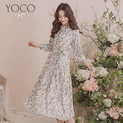 東京著衣-YOCO 清新甜美滿版碎花拼接魚尾洋裝-S.M.L(共兩色)