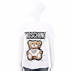 MOSCHINO 別針泰迪熊印花白色棉質T恤