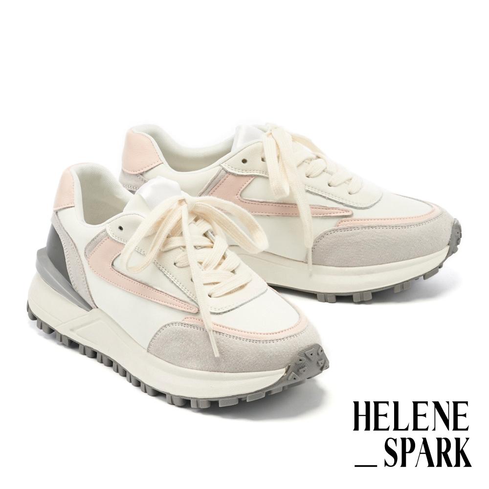 休閒鞋 HELENE SPARK 時髦復古異材質拼接綁帶厚底休閒鞋-粉
