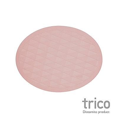 Trico 橢圓菱格瞬吸珪藻土地墊-粉紅