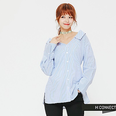 H:CONNECT 韓國品牌 女裝-甜美感後綁結襯衫-藍