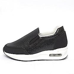 【AIRKOREA韓國空運】雙鞋面材質拼接增高休閒懶人便鞋-黑
