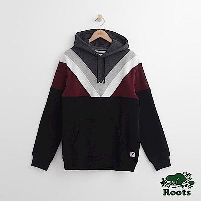 Roots 男裝-羅根拼接連帽上衣-黑