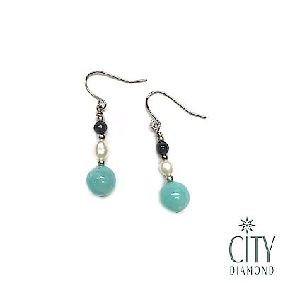 City Diamond引雅【手作設計系列】天然珍珠.天河石.黑瑪瑙長掛垂式耳環