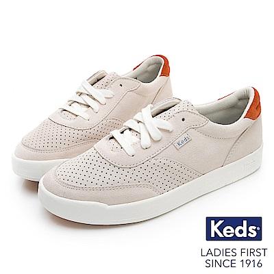 Keds MATCH POINT 經典復刻皮革休閒鞋-灰白