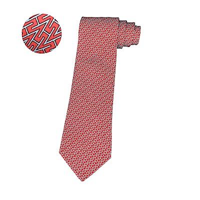 HERMES愛馬仕ETHNIQUE經典緹花LOGO工字型設計蠶絲領帶(紅)