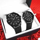 CITIZEN 520 情人對錶 光動能 日期 小牛皮手錶-黑色/41+34mm