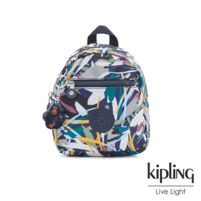 Kipling 幾何花卉圖騰簡約時尚拉鍊後背包-WINNIFRED