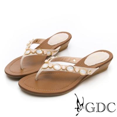 GDC-夏日真皮寶石夾腳拖鞋-米色