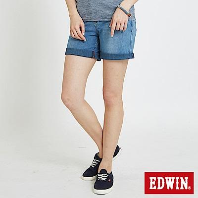 EDWIN 迦績褲 快乾五分牛仔短褲-女-重漂藍