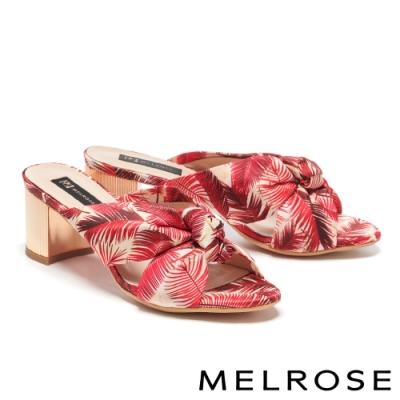 拖鞋 MELROSE 熱帶風情花布蝴蝶結造型高跟拖鞋-紅
