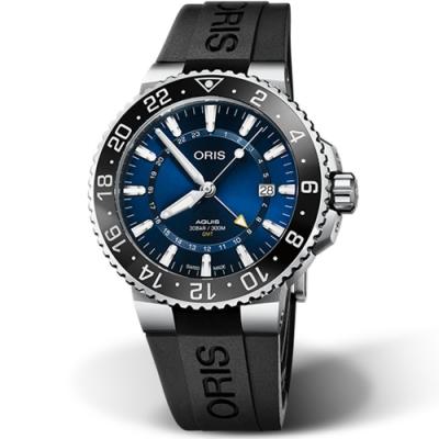 ORIS AQUIS GMT 時間之海 雙時區日期潛水錶-43.5mm藍面/黑膠帶