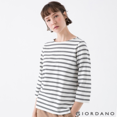 GIORDANO  女裝簡約厚磅七分袖T恤 - 81 皎白/標誌黑