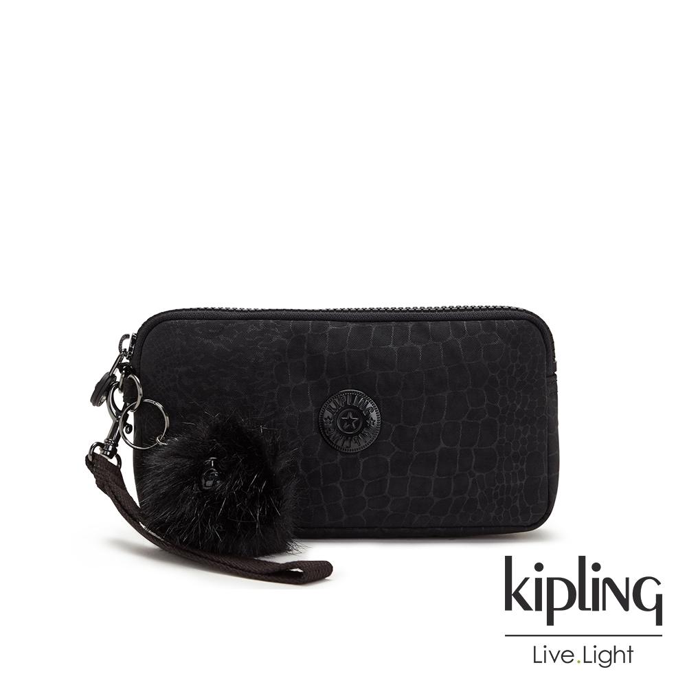 Kipling 時髦黑佐鱷魚紋手拿包-LOWIE
