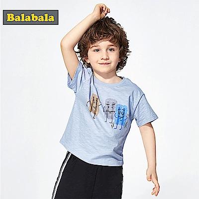 Balabala巴拉巴拉-卡通插畫竹節棉短袖T恤-男(3色)