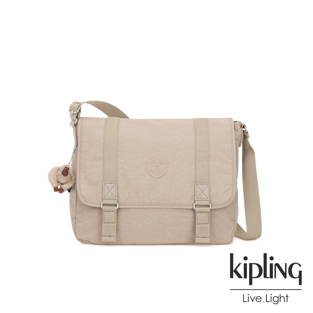 Kipling 溫暖奶茶色側背郵差包-HARRIS