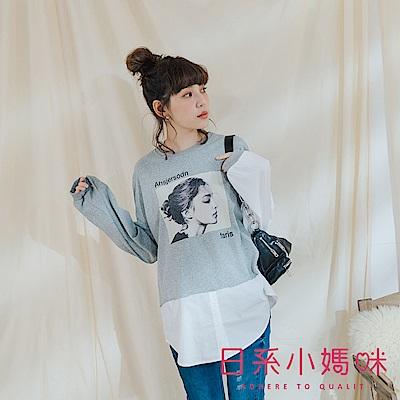 日系小媽咪孕婦裝-孕婦裝~知性女孩圖片下襬拼接襯衫上衣