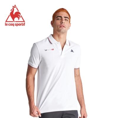 le coq sportif 法國公雞牌左右胸口繡花短袖POLO衫 男-白