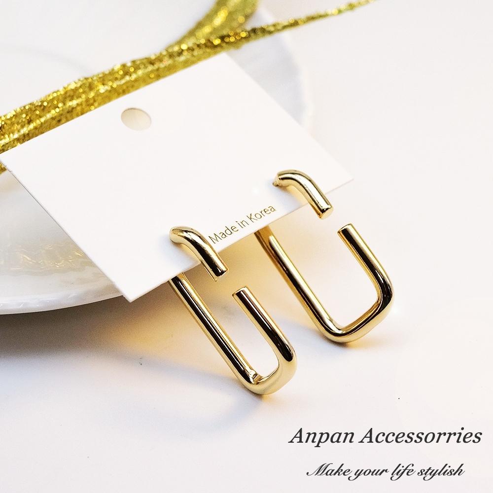 【全館6折】ANPAN愛扮韓南大門個性大C型金扣耳釘式耳環