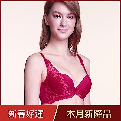黛安芬-自然優雅系列魔術 B-D罩杯內衣 嫣紅